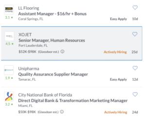 glassdoor job search engine example